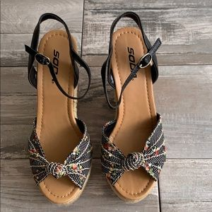Black multi print espadrille cork platform wedge